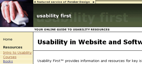 Usability First - screen shot.