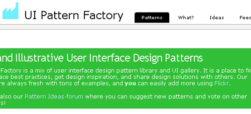 UI Pattern Factory - screen shot.