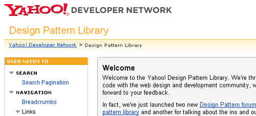 Yahoo! Design Pattern Library - screen shot.