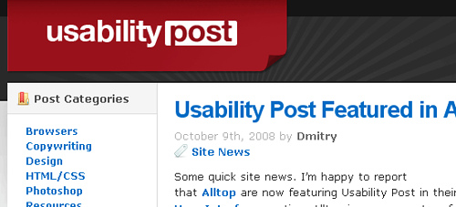 Usability Post - screen shot.